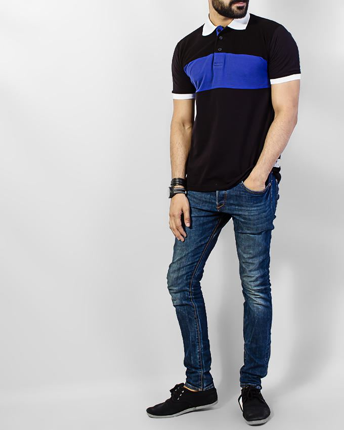 Red Tree Stylish Black Polo Shirt With Navy Blue Panel Rt