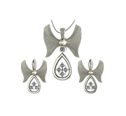 ARY Jewellers Silver Daimond Locket Set S09