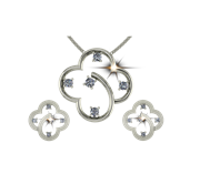 ARY Jewellers Silver Daimond Locket Set S02