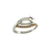 ARY Jewellers Silver Daimond Ring R10