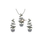 ARY Jewellers Silver Locket Set S03