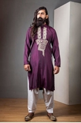 AW-004 Ahmed & Waleed Purple Color Kurta