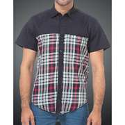 Red Tree Shirt Blue Check with Navy Yoke H/S RT2535