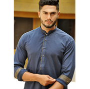 Hashim Baig cotton with gloden block brinted triming in cuffs and colar