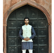 Hasham Baig Grey textured dotted kurta with digital brinted trimings
