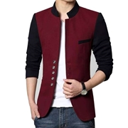 Maroon & Black Fleece Blazer Coat For Men