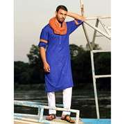 Hasham Baig cotton with orange trimings of cuffs anf inside colar (without scarf)