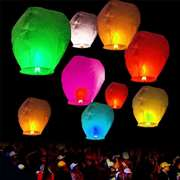 Pack of 10 Large size Sky Lantern with Fuel Cell - Multi-color