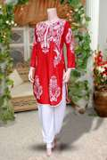 Red Printed Kurti With  Free Harem Pant