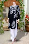 Black Printed Kurti With Free Harem Pant