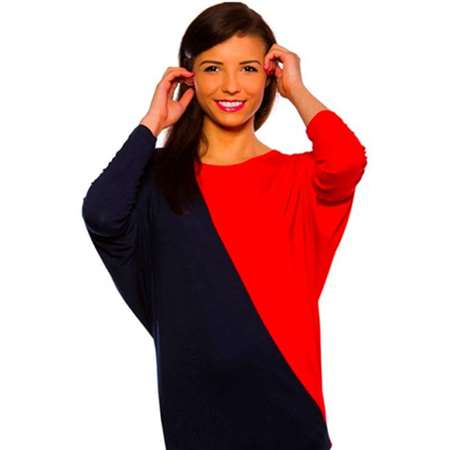 Buy Virda Textile Women Cross Loose Top (Blue & Red)   online