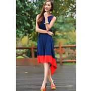 Stylish Blue Red Sleeveless Dress For Women