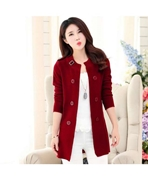 Cardigan's Women Ladies Coat Maroon