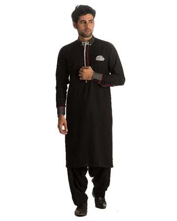 Buy Edge Black Cotton Kameez Shalwar For Men  online