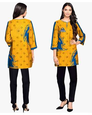 Buy Karachi Kings Yellow & Blue Kurti  online