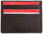 Dark Brown Leather Card Holder Six Credit  Card Slots