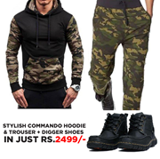 Pack of 3 Stylish commando Hoodie & Trouser + Digger Shoes