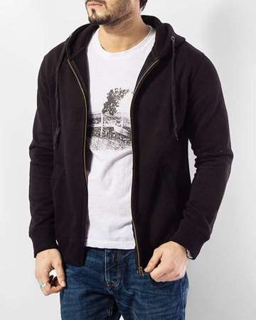 Buy Qzs Clothing Black Cotton Stylish Hoddie  online