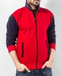 Qzs Clothing Red & Navy Blue Collar Fleece Jacket