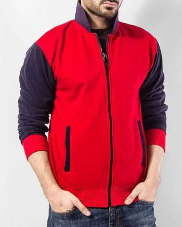 Buy Qzs Clothing Red & Navy Blue Collar Fleece Jacket  online