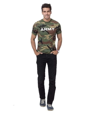 Buy Qzs Clothing Green Cotton Army Camouflage Round Neck T-shirt - QZS-068  online