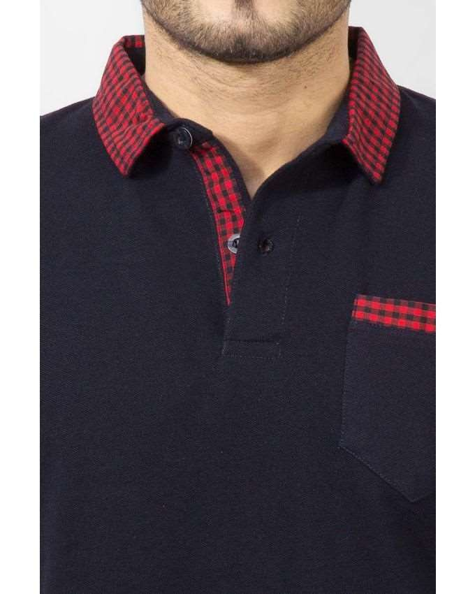 741faf3b8d Qzs Clothing Navy Blue Cotton Polo Shirt with Red Checkered Collar