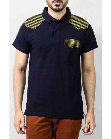 Buy Qzs Clothing Navy Blue Cotton Polo Shirt with Checkered Pattern on Shoulder & Pocket  online