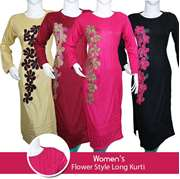 Womens Flower Style Long Kurti