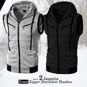 Pack of 2 Jaqueta Front Zipper Sleeveless Hoodies