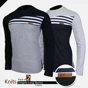 Pack of 2 Knits Designer Long Sleeve T-shirts