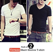 Buy Special Diamond Deal  Pack of 2 Verano Short Sleeves T-shirt  online