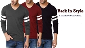 Buy Special Diamond Deal Pack Of 3 Stylish Full Sleeves V-neck T-shirt  online