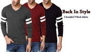 Special Diamond Deal Pack Of 3 Stylish Full Sleeves V-neck T-shirt
