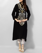 Special Diamond Deal Afreen's Collection Black Linen Printed Kurta