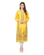 Special Diamond Deal Afreen's Collection Yellow Fire Linen Kurta For Women