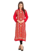 Special Diamond Deal Afreen's Collection Red Linen multi color emberoidery Kurta For Women
