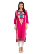 Special Diamond Deal Afreen's Collection Pink Linen Kurta With Multi Color Embroidery