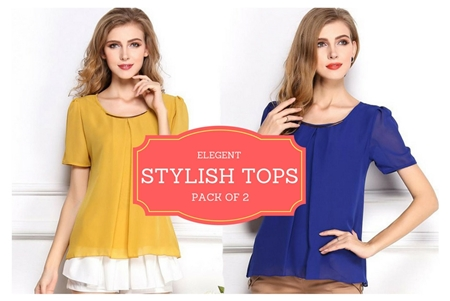 Buy Special Diamond Deal Pack Of 2 Elegant Tops   online