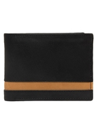 Black Leather Men Wallet with Mustard Strap on Top