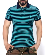 Sea Green Striper Stylish Polo Shirt QZS-112