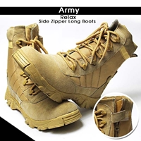 Army Relax Side Zipper Long Boots