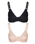Black & Skin Cotton Embroidered Bra Set - 050SB
