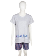 Grey Cotton Bird Print Top + Shorts Set