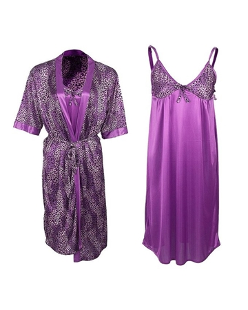 48c94b35d9 2Pc Cheetah Print Gown With Chemise Set - Purple shopping in Pakistan