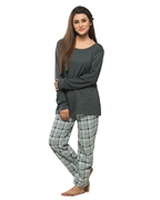 Grey Jersey Cotton T-shirt with Check Print Trouser