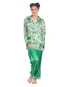 Sea Green Silk Floral Print Pajama Set For Women - 25SG