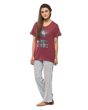 Maroon Jersey Cotton Printed Night Suit For Women - 0988 shopping in ... dc135babf