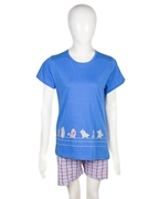 Nighty4u Blue Cotton Bird Print Top + Shorts Set