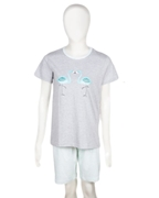 Nighty4u Cotton Grey Swan Print Top + Shorts Set
