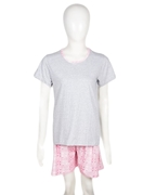 Nighty4u Cotton Swan Grey Top + Shorts Set